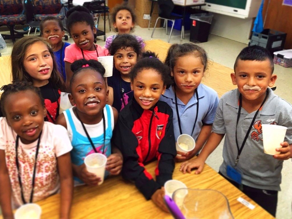 Kindergarteners from Pecan Springs Elementary enjoy a Brighter Bites cooking and nutrition education lesson making Banana Ice Cream at the Andy Roddick Foundation's Summer Learning program.